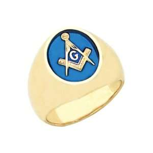 Vermeil Masonic Freemason Mason Ring Blue Stone (Size 12.5) Jewelry