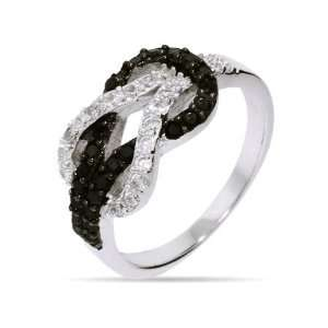 Black and White CZ Sterling Silver Love Knot Ring Size 6