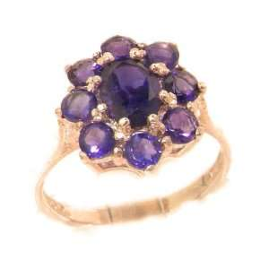 Luxury Ladies Solid Rose Gold Natural AAA Grade Amethyst Cluster Ring