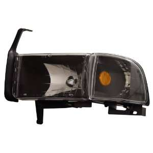 DODGE RAM 94 01 CRYSTAL HEADLIGHTS BLACK AMBER WITH CORNER LIGHT
