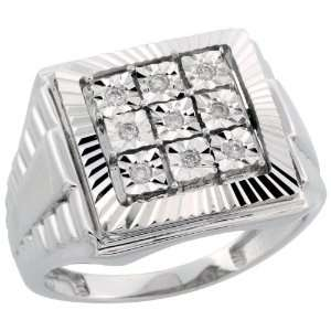 10k White Gold Watch Band Style Mens Diamond Ring, w/ 0