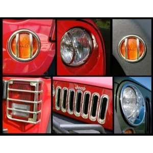 Stainless Steel Head/Side/Tail Light Guard Kit with Grill Automotive