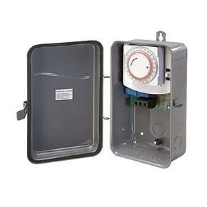 SPST 40 AMP Hardwire Outdoor Heavy Duty Mechanical Timer Switch, Gray