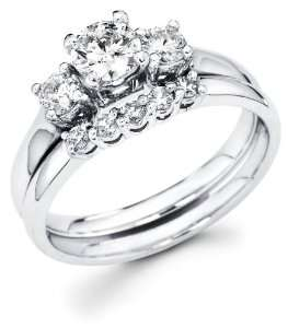 White Gold Three 3 Stone Round Diamond Engagement Anniversary 2 Ring
