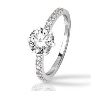 Classic Side Stone Prong Set Diamond Engagement Ring (ring