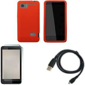 iFase Brand HTC Holiday Combo Solid Red Silicone Skin Case