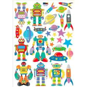 Build Your Robots Kids/Boys Room Removable Wall Art