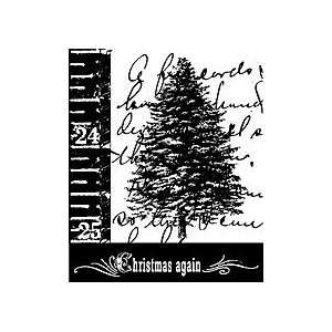 Scripted Tree    Wood Mounted Stamp ( 3 1/2 x 4 1/4