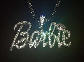 Nicki Minaj 3 BARBIE Iced Out Necklace Silver/Clear Pink Lips