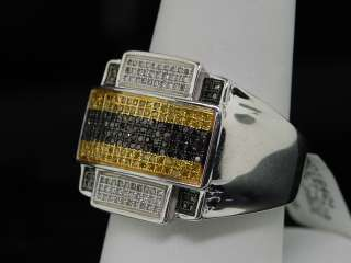 MENS WHITE GOLD FINISH YELLOW DIAMOND PINKY RING PAVE