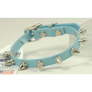 Leather Baby Blue Pet Dog Collar Spiked 12 14